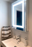 "Lighted LED Bathroom Mirror Medicine Cabinet: 24"" Wide x 32"" Tall - Surface-Mounted - Hinged on Left - 6,000 Kelvin"