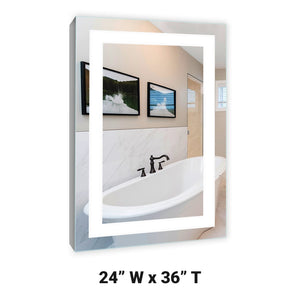 LED Lighted Mirrored Surface Mounted Medicine Cabinet 24x36 LH 6000K A
