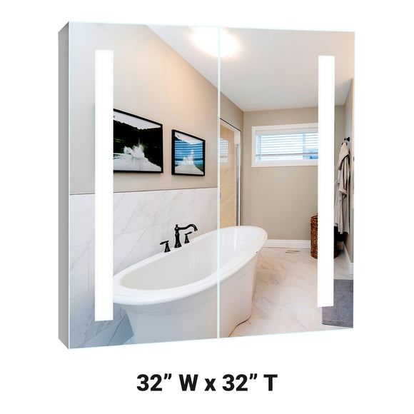 Lighted Twin-Door LED Bathroom Mirror Medicine Cabinet: 32