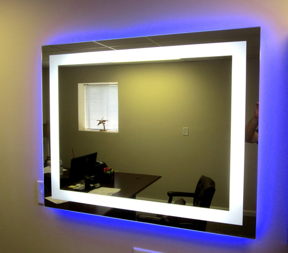 "Lighted Bathroom Wall Mirror Large: Front-Lighted LED Bathroom Vanity Mirror: 48"" X 32"