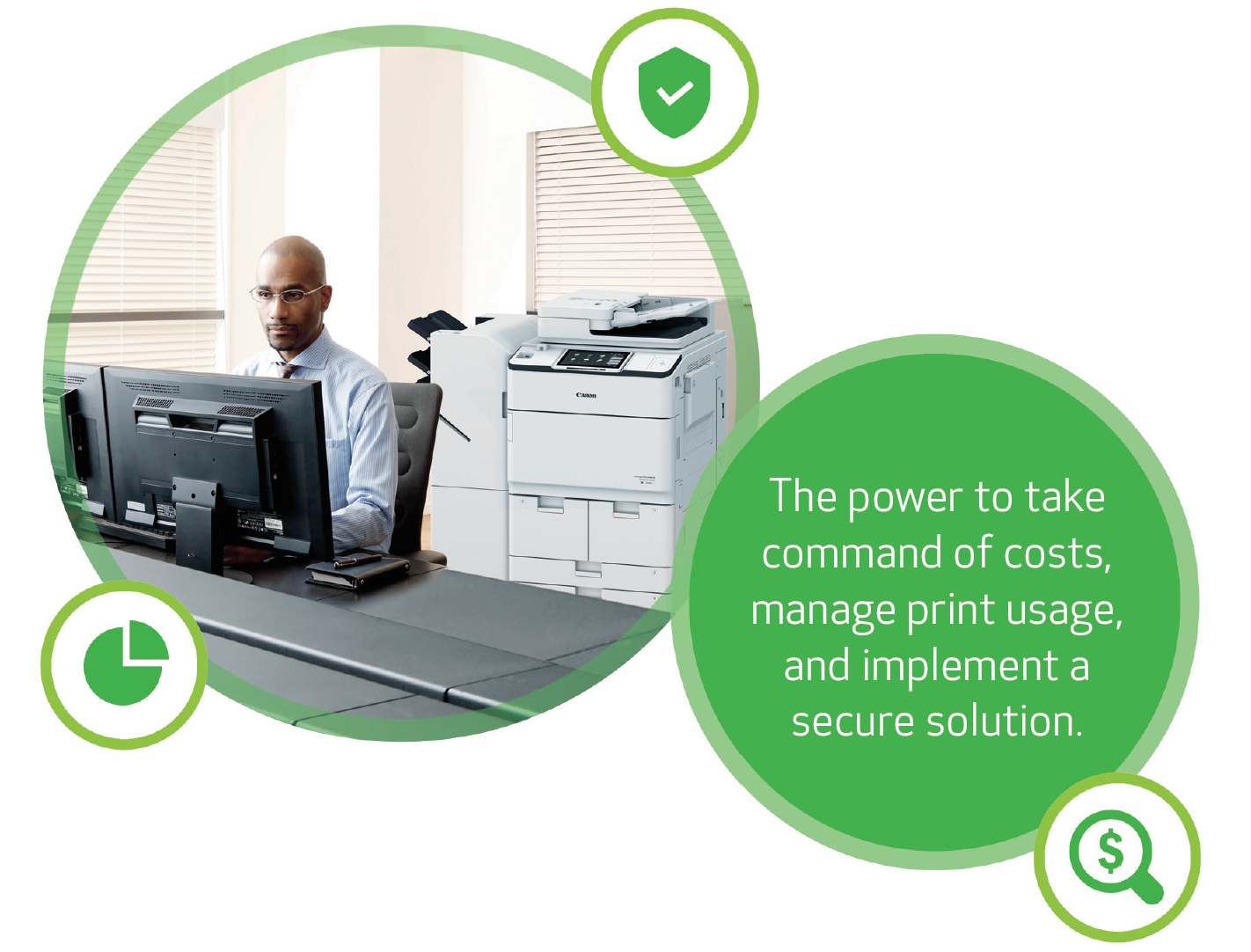 Control. The power to take command of costs, manage print usage and implement a secure solution.