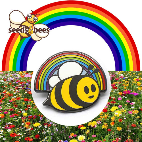 Rainbow Bee Pin Badge