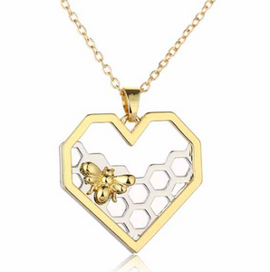 Heart Honeycomb Bee Necklace