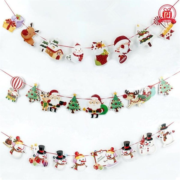 1 Piece Christmas Wall Hanging Drop Ornaments Snowman/Socks/House/Santa Claus Flag Banner Pendant Fot Home Party Decor