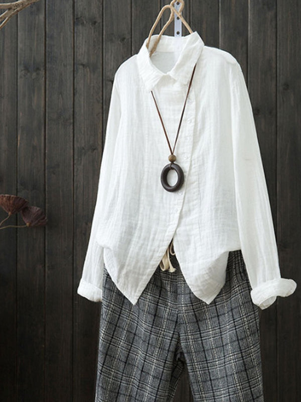 Asymmetric Blouses Long Slleve Solid Casual Cotton Tops