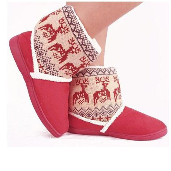 Christmas Panel Faux Suede Fleece Lined Snow Boots