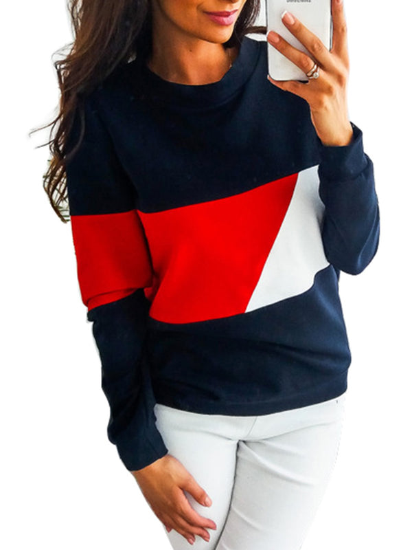Cotton Solid Casual Color-block Crew Neck Hoodie