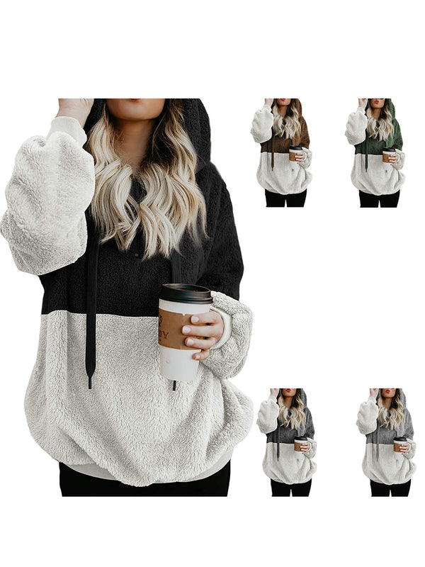 Rope Hoodie Color Block Teddy Bear Hoodies