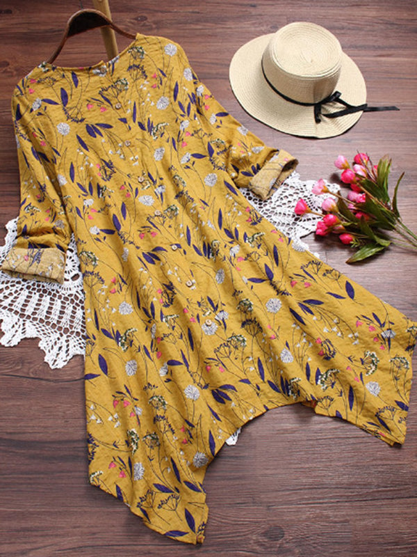 Casual Floral Long Sleeve Casual Long Blouses