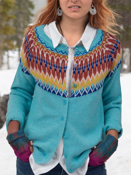 Daily Casual Long Sleeve Printed Knitted Cardigans