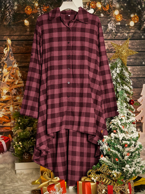 Checkered/plaid Long Sleeve Cotton Shirt Collar Dresses