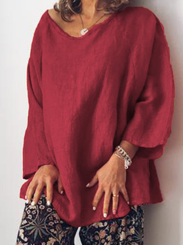 Casual Oversized O Neck Long Sleeve Tops Tunic