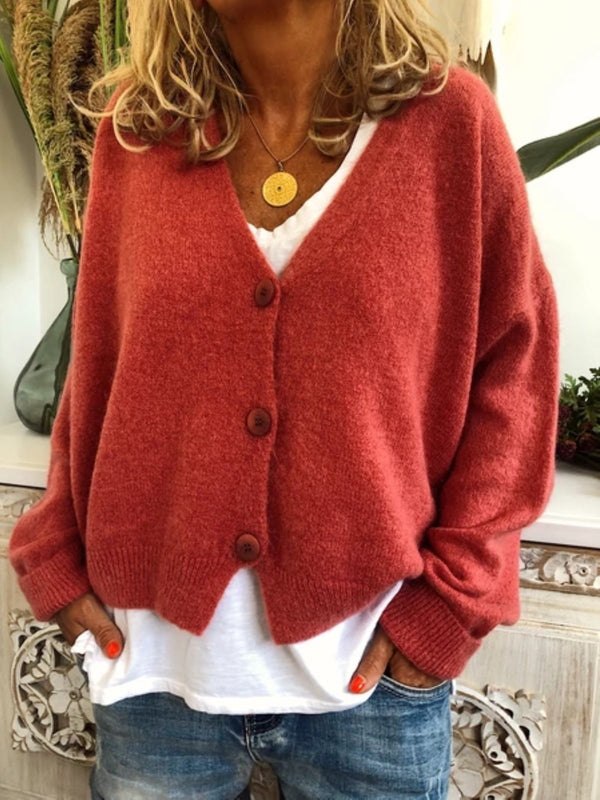 Women Cardigans Long Sleeve Bottons Cotton-Blend Cardigans