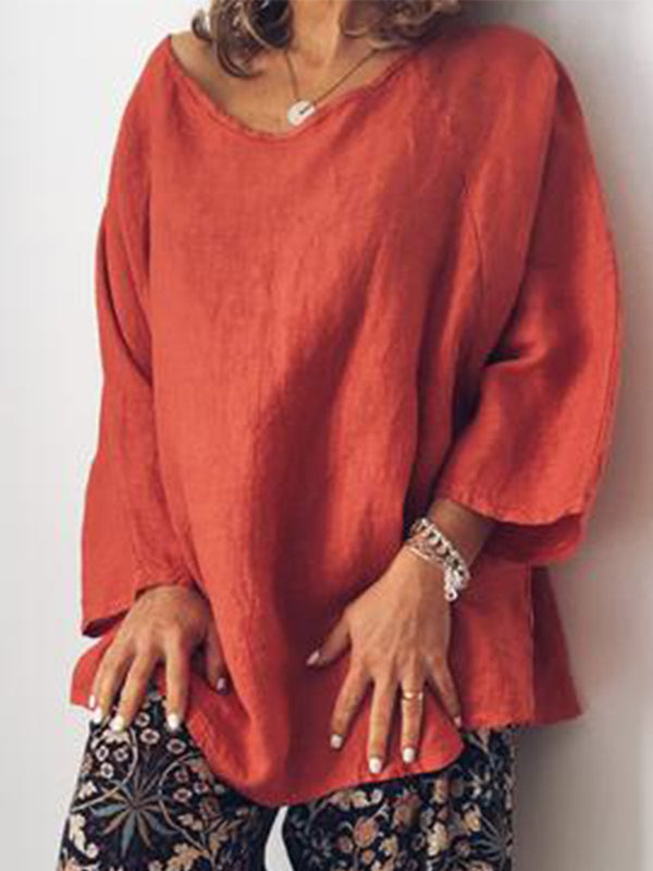 Casual O Neck Long Sleeve Tops Tunic