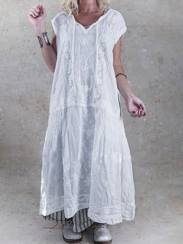 White Patchwork Vintage Dress