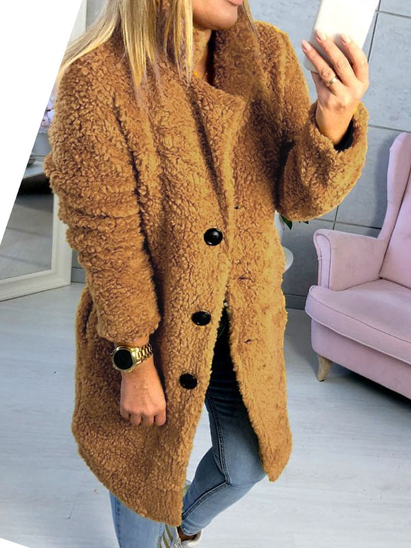 Lapel Long Sleeve Button Plain Chic Fur Coat