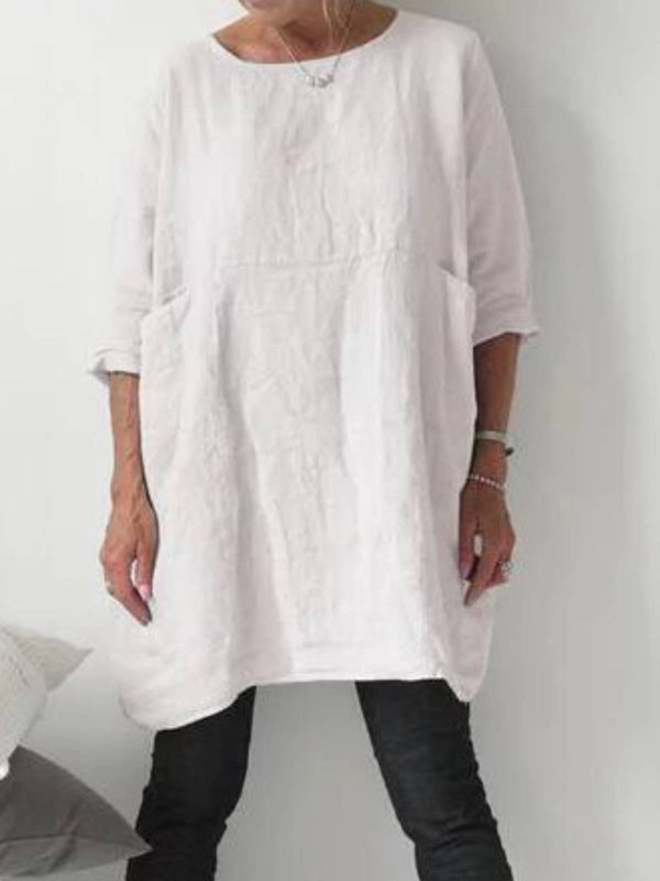 Linen 3/4 Sleeve Casual Tops