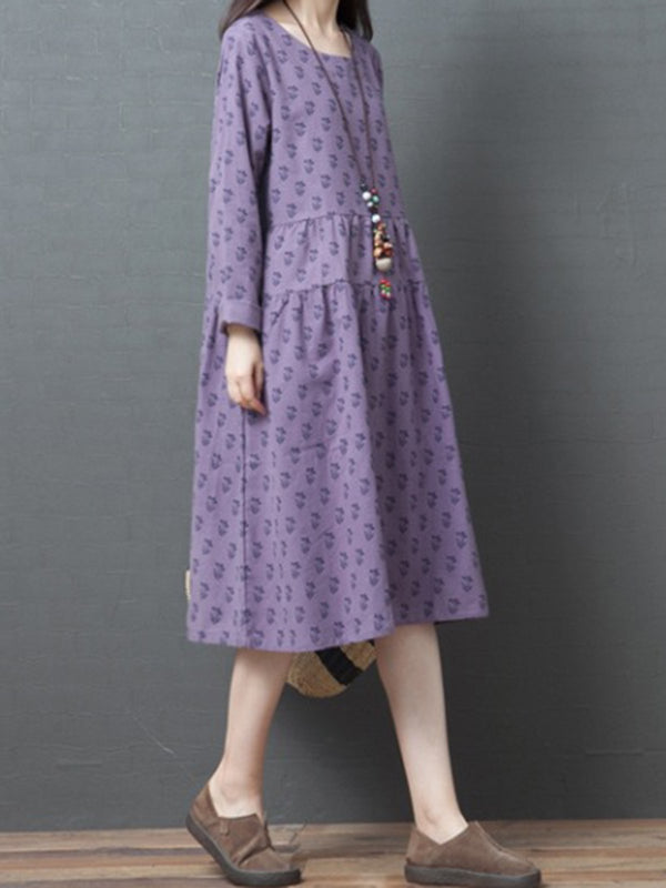 Crew Neck Women Dresses A-Line Daily Printed Dresses