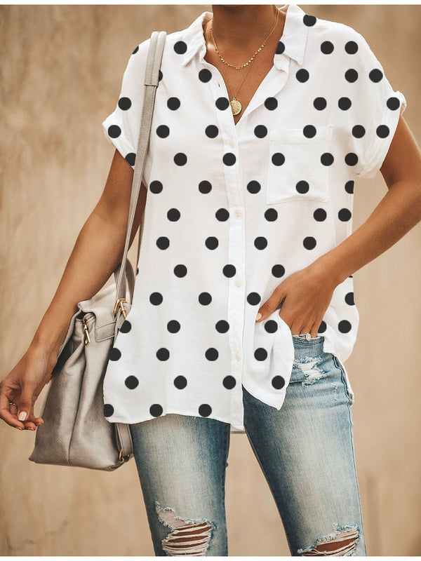 Relaxed Fit Polka Dots Button Down Shirt