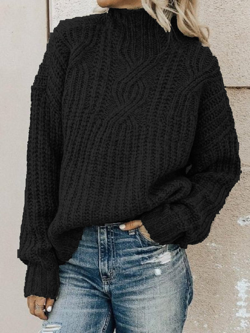 Cotton-Blend Long Sleeve Casual Plus Size Turtleneck Sweater Pullover Sweaters