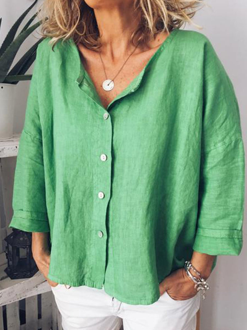 Women V Neck 3/4 Sleeve Blouse