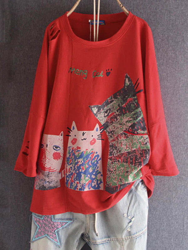 Cotton-Blend Long Sleeve Animal Shirts & Tops