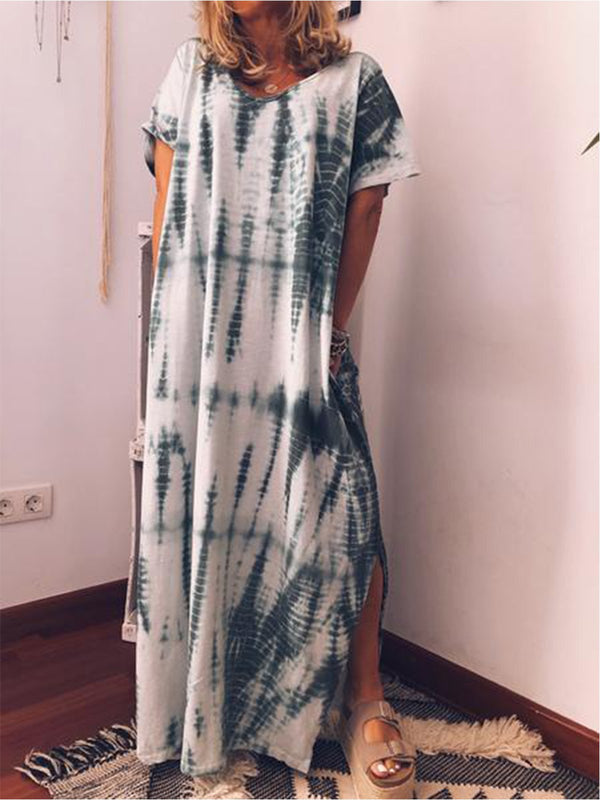 Women Summer Plus Size Loose Printed Maxi Dress