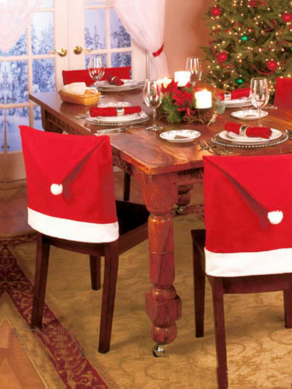 1pcs 60x50cm Christmas Chairs Back Cover Dinner Table Santa Hat Home Party Decor Gift