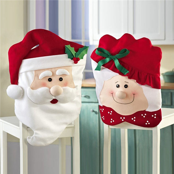 1pcs Christmas Grandpa / Grandma Chairs Back Cover Dinner Table Santa Hat Home Party Decor Gift