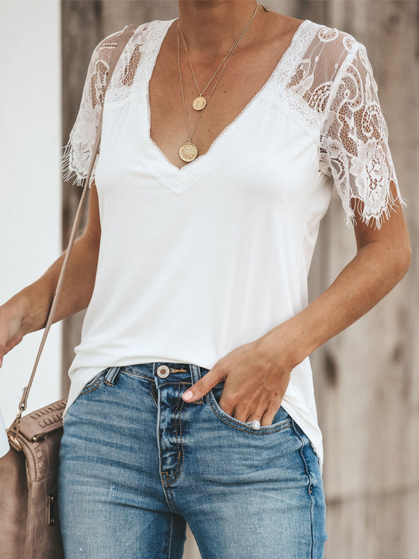 Casual V-Neck Short Sleeve Solid Tops