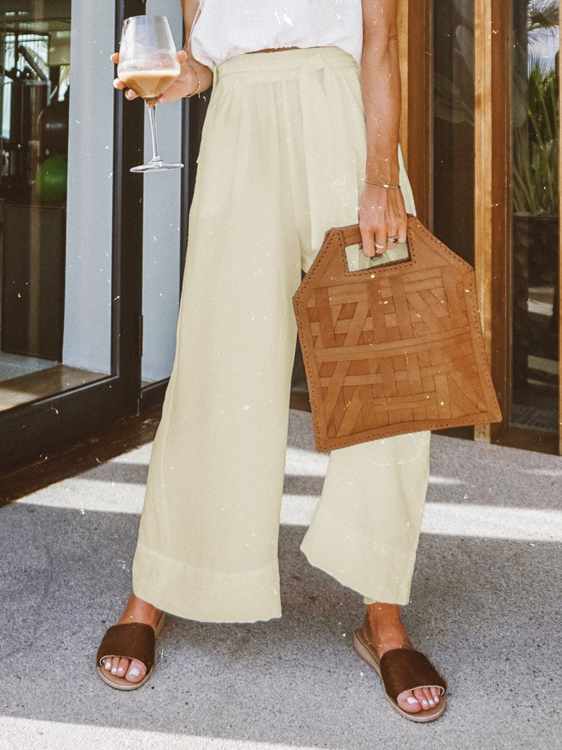 Natural Loose Capri Pants With Pockets