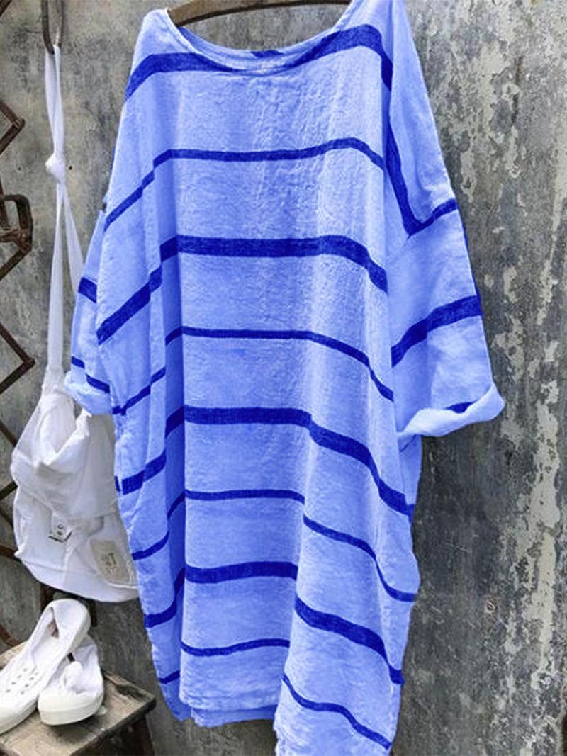 Striped Crew Neck Casual Dress