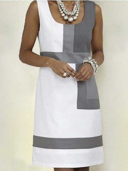 Shift Geometric Sleeveless Dresses