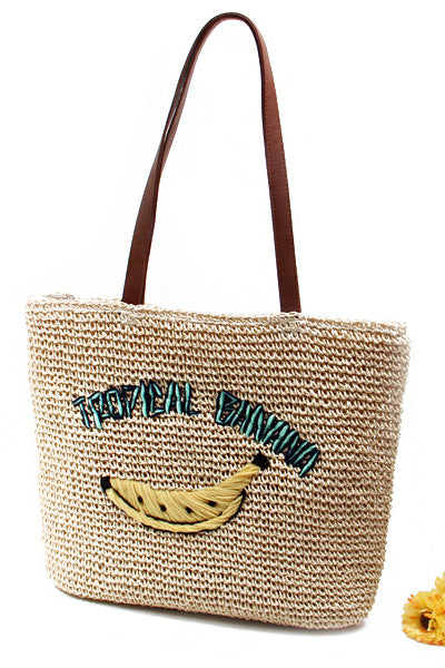 Women's Casual Banana Print Woven Straw Tote Bag