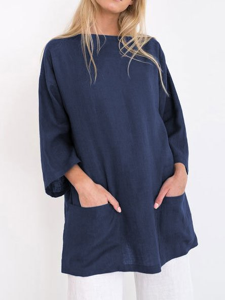 Bateau/boat Neck Pockets Linen Shirts & Tops