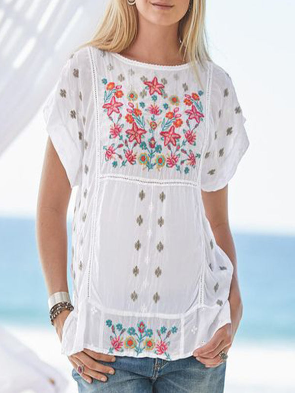 White Short Sleeve Embroidered Cotton-Blend Shirts & Tops