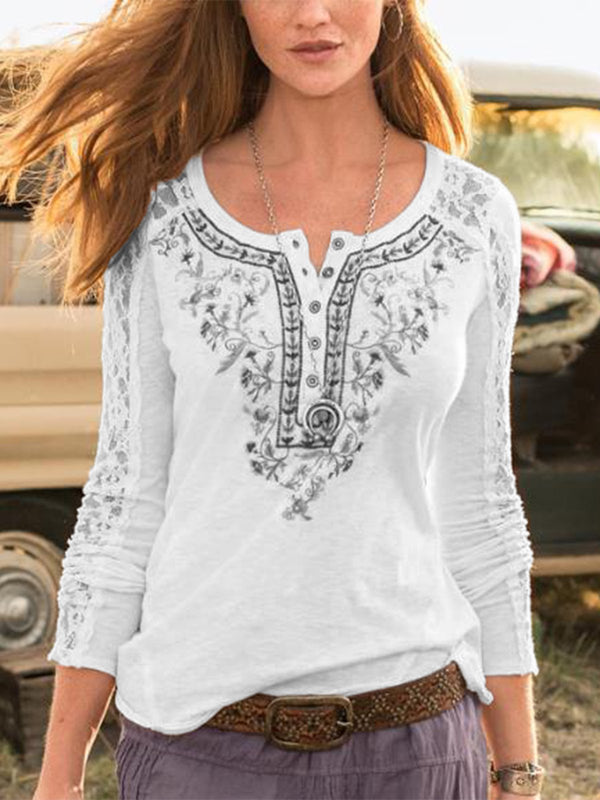 Floral Lace Sleeve T Shirts