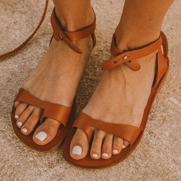 Women Plain Simple Open Toe Buckle Comfortable Sandals