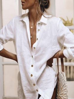 White Long Sleeve Cotton-Blend Holiday Shirts & Tops
