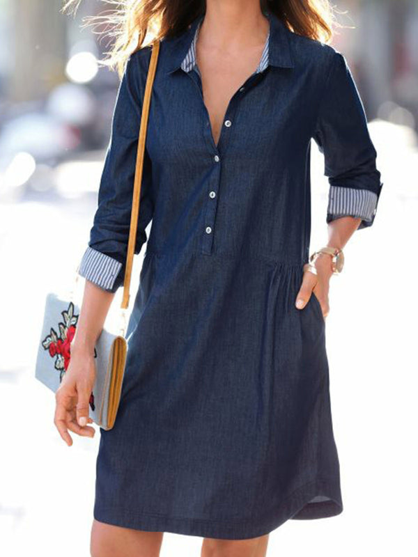 Plain Shirt Collar Shift Daytime Casual Dresses