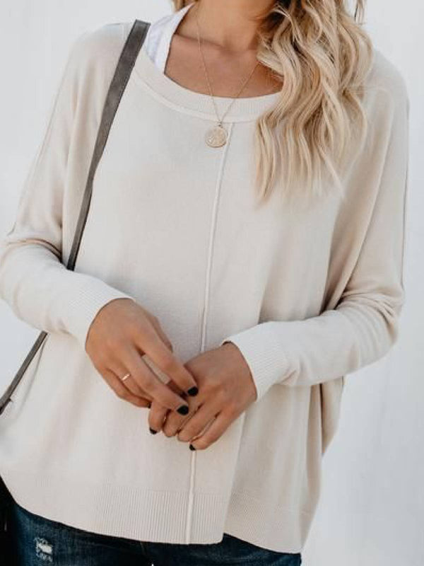 Casual Long Sleeve Cotton-Blend Round Neck Tops