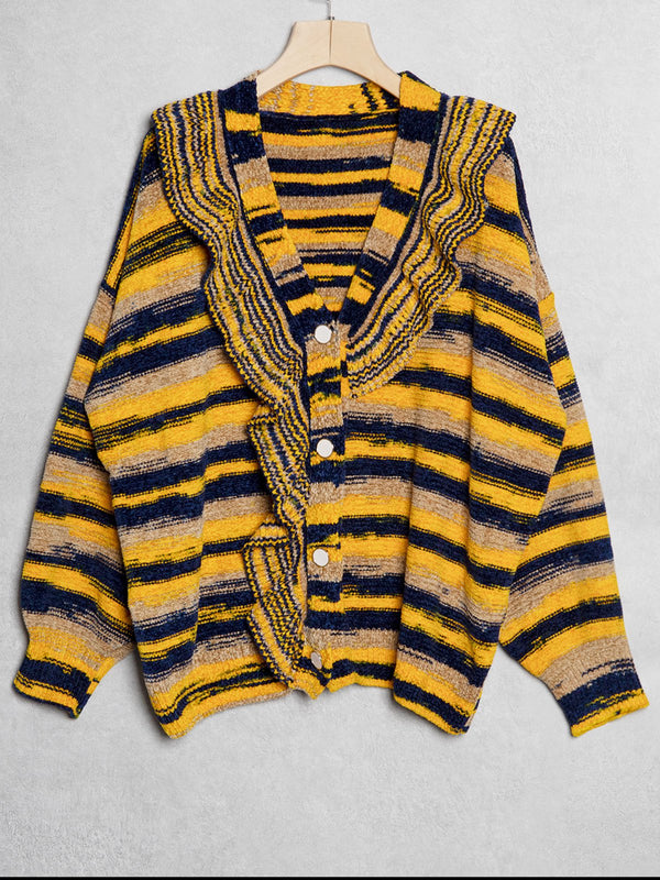 Color-Block Stripes Long Sleeve Sweater