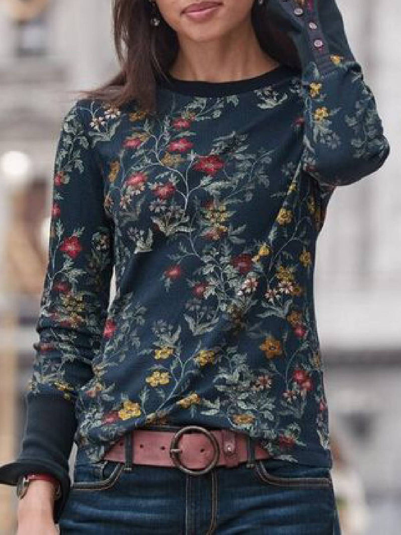 Women Black Printed Casual Long Sleeve Round Neck Blouse