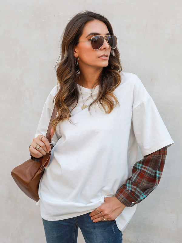 Casual Shift Scoop Neckline Checkered/plaid Shirts & Tops