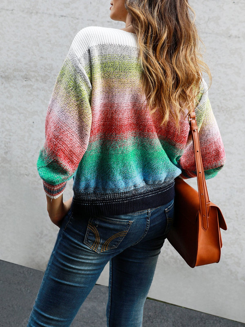 Color-Block Casual Ombre/tie-Dye Shift Sweater