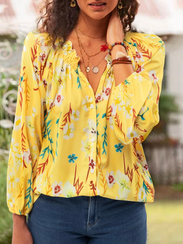 Women Long Sleeve Sweet V Neck Chiffon Date Tops