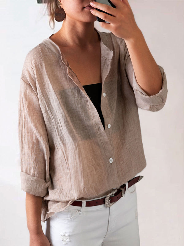 Casual Fit Women's Vintage V-Neck Linen Blouse