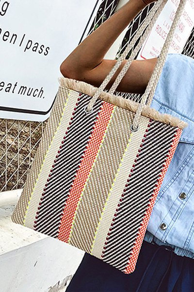 Women's Casual Striped Linen Woven Zipper Tote Bag
