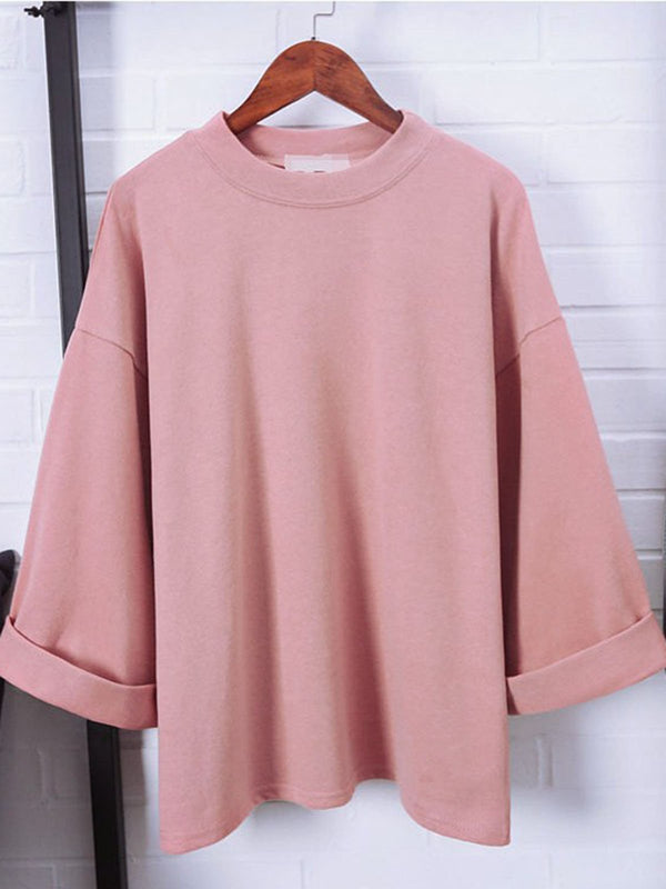 Summer Casual Crew Neck Solid T-Shirt