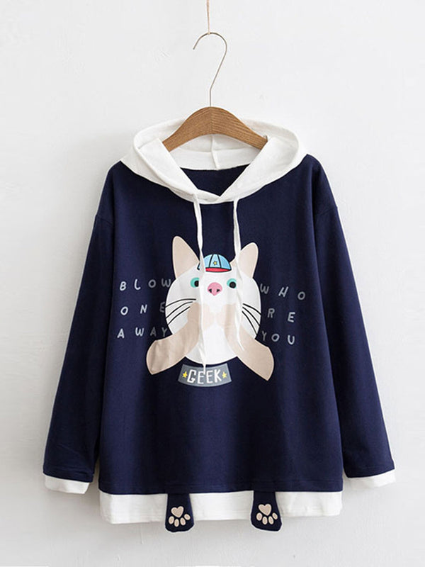 Cute Cat Printed Long Sleeve Hoodie Sweatshirts